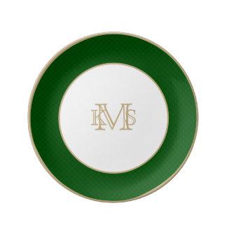 Evergreen Green Quilt Pattern Porcelain Plate