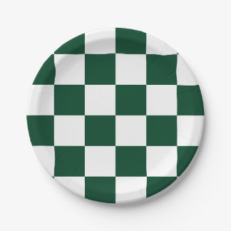Evergreen Green/White Checkered 7 Inch Paper Plate