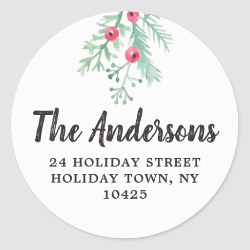 Evergreen Holiday Return Address Envelope Seal