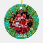 Evergreen Holly Snowflakes Ceramic Ornament