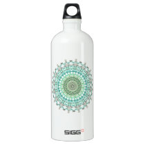 Evergreen Mandala Pattern Aluminum Water Bottle