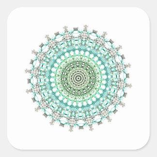 Evergreen Mandala Pattern Square Sticker