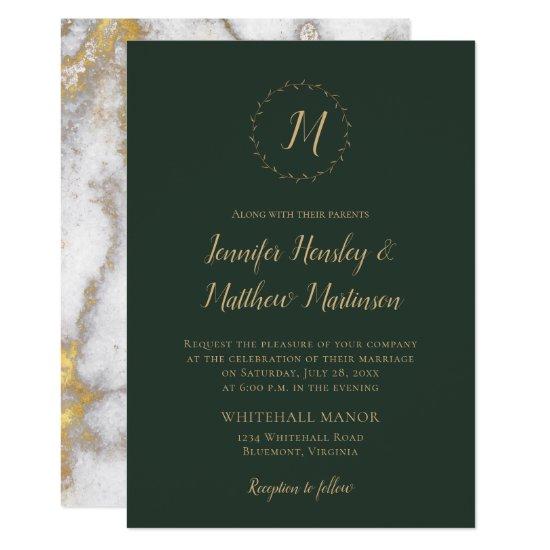 Evergreen Monogram Gold Marble Winter Wedding Invitation