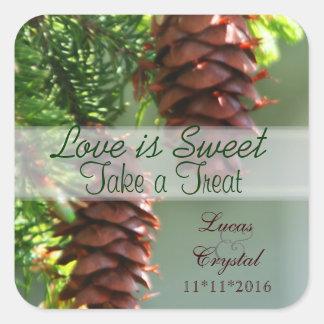 Evergreen Pinecone Candy Buffet Sticker