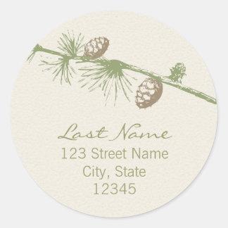 Evergreen Return Address Seal Round Stickers