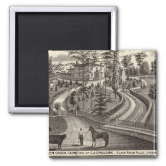 Evergreen Stock Farm, res 2 Inch Square Magnet