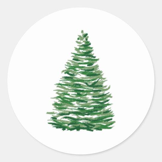 Evergreen Tree Classic Round Sticker