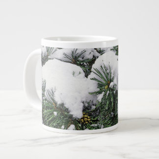 EVERGREEN TREE WITH SNOW-LADEN BOUGHS GIANT COFFEE MUG