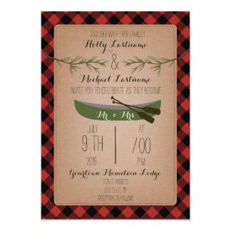 Evergreen Trees + Canoe Plaid Wedding Card