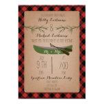 Evergreen Trees + Canoe Plaid Wedding 5x7 Paper Invitation Card