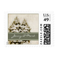 Evergreen Trees Christmas Postage