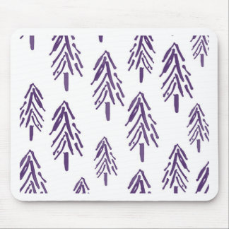 Evergreen Trees in Purple Mouse Pad