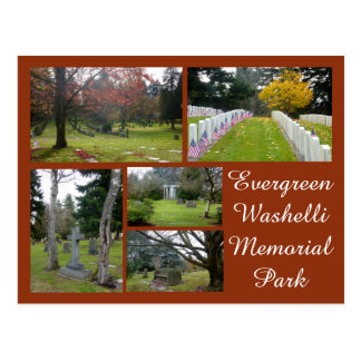 Evergreen Washelli Cemetery Collage Postcard
