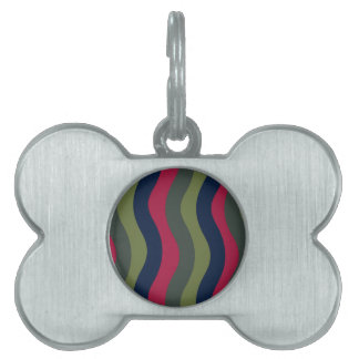 Evergreen Wavy Stripes Pet ID Tag