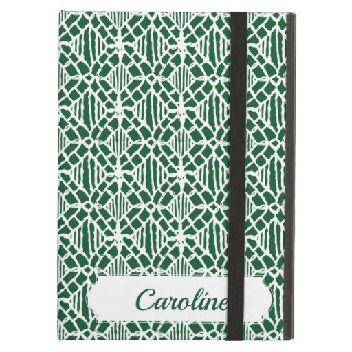 Evergreen With White Crochet Lace Pattern Case For iPad Air