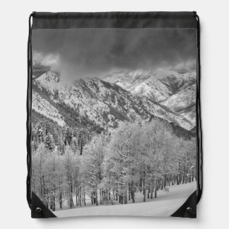 Evergreens and Aspen trees in a snow storm Drawstring Bag