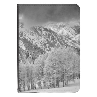 Evergreens and Aspen trees in a snow storm Kindle 4 Case