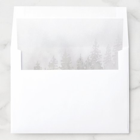 Evergreens in the Fog Forest in Gray Watercolor Envelope Liner