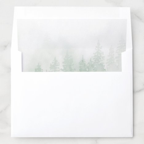 Evergreens in the Fog Forest in Green Watercolor Envelope Liner