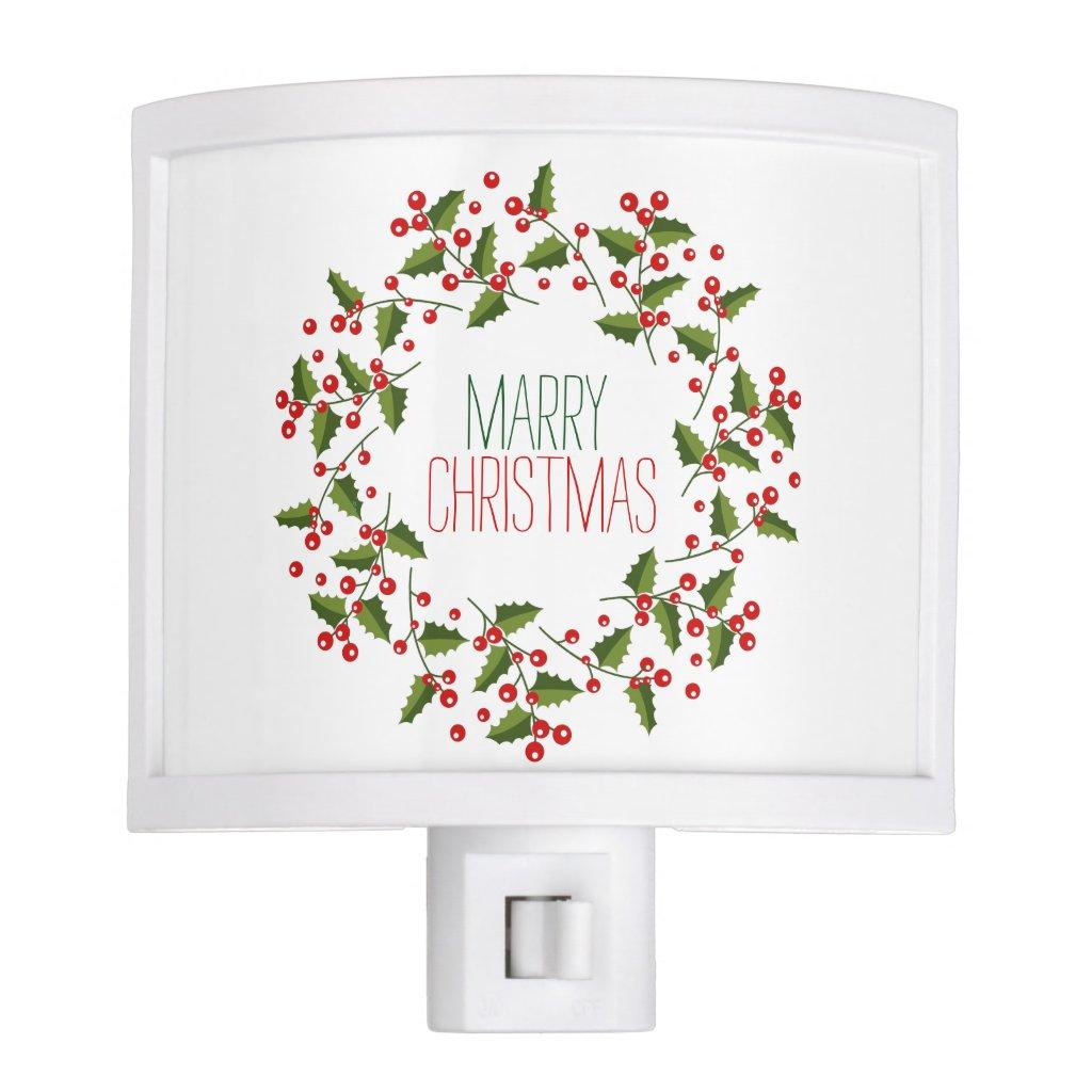 Evergreens & Red Berries Christmas Wreath Night Light