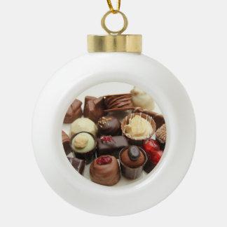 Everlasting chocolates ceramic ball christmas ornament