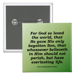 Everlasting Life Christmas John 3-16 2 Inch Square Button