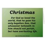 Everlasting Life Christmas John 3-16 Greeting Cards