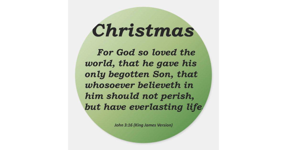 Everlasting Life Christmas John 3-16 Classic Round Sticker   Zazzle.com