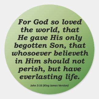 Everlasting Life Christmas John 3-16 Classic Round Sticker