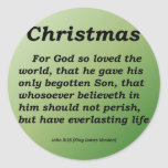 Everlasting Life Christmas John 3-16 Round Stickers