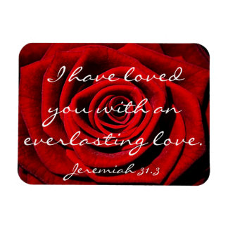 everlasting love bible verse with red rose rectangle magnet