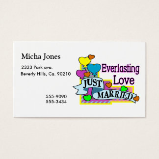 Everlasting Love Just Married Heart Balloons Business Card