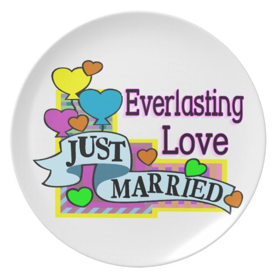 Everlasting Love Just Married Heart Balloons Plate