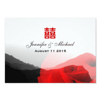 Everlasting Love Mountains Red Rose Xi Wedding Card