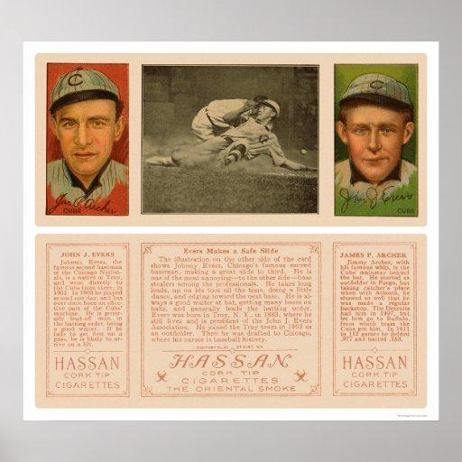 Evers Slides Safely Cubs Baseball 1912 Poster