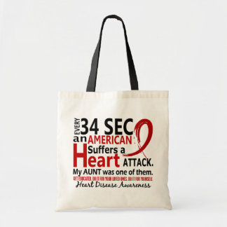 Every 34 Seconds Aunt Heart Disease / Attack Budget Tote Bag