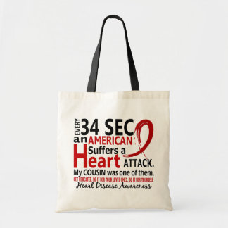 Every 34 Seconds Cousin Heart Disease / Attack Budget Tote Bag