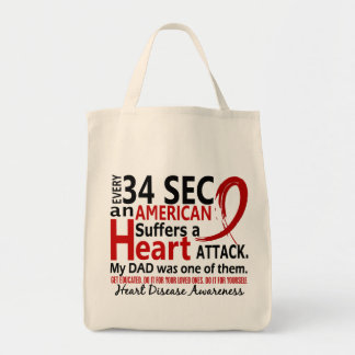 Every 34 Seconds Dad Heart Disease / Attack Canvas Bags