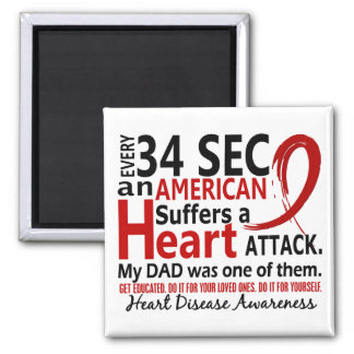 Every 34 Seconds Dad Heart Disease / Attack Fridge Magnet