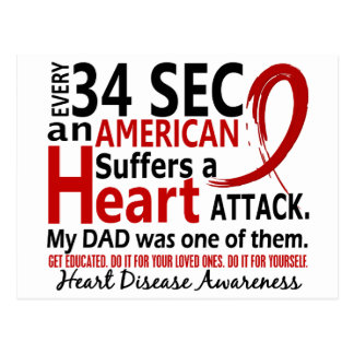 Every 34 Seconds Dad Heart Disease / Attack Postcards