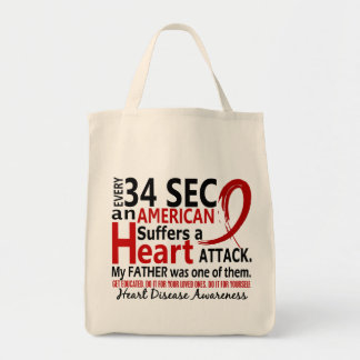 Every 34 Seconds Father Heart Disease / Attack Grocery Tote Bag