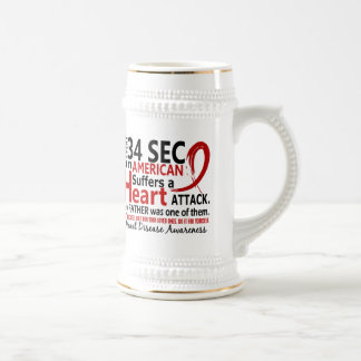 Every 34 Seconds Father Heart Disease / Attack 18 Oz Beer Stein