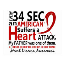 Every 34 Seconds Father Heart Disease / Attack Postcard