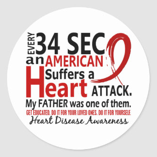 Every 34 Seconds Father Heart Disease / Attack Classic Round Sticker