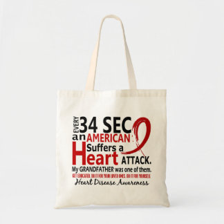 Every 34 Seconds Grandfather Heart Disease/Attack Budget Tote Bag