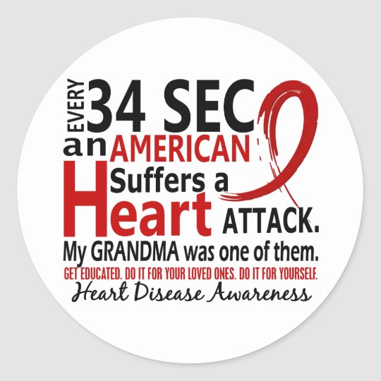 Every 34 Seconds Grandma Heart Disease / Attack Classic Round Sticker