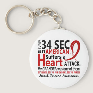Every 34 Seconds Grandpa Heart Disease / Attack Keychain