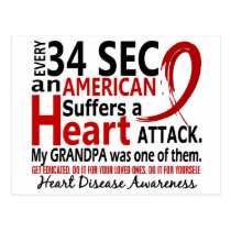 Every 34 Seconds Grandpa Heart Disease / Attack Postcard