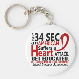 Every 34 Seconds Heart Disease / Attack Basic Round Button Keychain