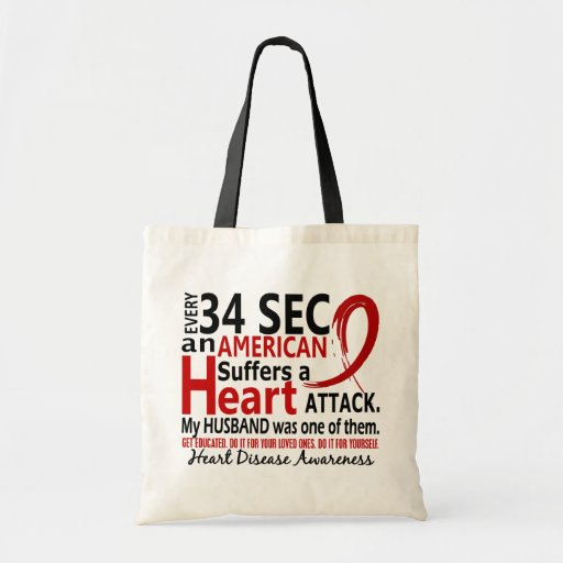 Every 34 Seconds Husband Heart Disease / Attack Budget Tote Bag